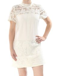 Kensie Striped Floral Lace Dress - White