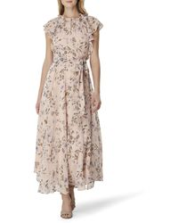 Tahari Plus Size Flutter Sleeve Tie Waist Maxi Dress - Multicolor