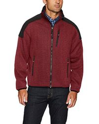 Izod - Zip Up Sweater Fleece Jacket With Soft Shell Patches - Lyst