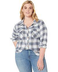 Volcom Getting Rad Plaid Long Sleeve Flannel Shirt - Blue