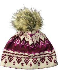 Jack Wolfskin Scandic Fleece Beanie With Faux Fur Pom-pom Hat - Multicolor