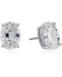 Kate Spade - S Oval Stud Earrings, Clear/silver - Lyst