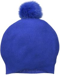 La Fiorentina Cashmere Blend Slouchy Beanie With Fur Pom - Blue