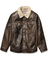 Levi's Faux Leather Sherpa Lined Trucker Jacket - Brown