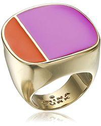 "Trina Turk - ""retro Sport"" Two Tone Gold Ring, Size 7 - Lyst"
