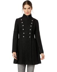 Guess Military Inspired Fit And Flare Fashion Wool Coat - Black