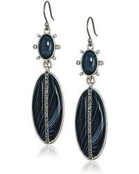 Lucky Brand Black Set Stone Agate Drop Earrings - Metallic