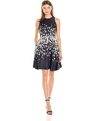 Donna Morgan - Fit & Flare Poly Twill Dress W/short Sleeves - Lyst