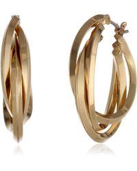 "Anne Klein ""classics"" Gold-tone 3 Ring Hoop Earrings - Metallic"