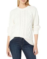 Lucky Brand Cable Knit Scoop Neck Sweater - White