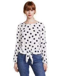 Three Dots Tie-front Top - White