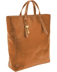 Fossil Camilla Leather Convertible Backpack Handbag - Brown