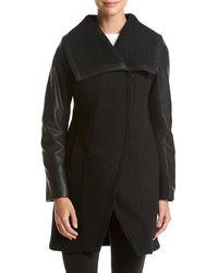 Betsey Johnson Basket Weave Wool Coat With Pu Sleeve - Black