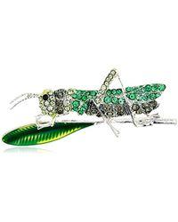 Napier Box Silver Tone Green Grasshopper Pin, One Size