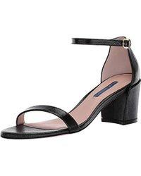 ace5b6218fe Stuart Weitzman Simple Napa Chunky-heel City Sandal in Black - Lyst