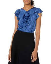 Rebecca Taylor Sleeveless Silk Jacquard Blouse With Ruffles - Blue