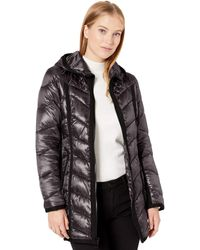 Guess Knee Length Quilted Iridescent Cire Puffer Coat With Hood - Black
