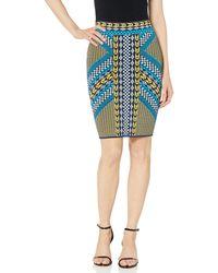 BCBGMAXAZRIA Geo Motif Skirt - Blue