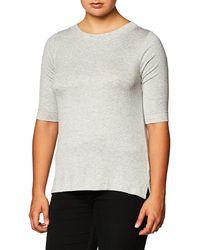 Lark & Ro Elbow-sleeve Boat Neck Shirt - Gray