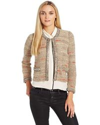 Tracy Reese Looped Knit Crewneck Bead Trimmed Cardigan - Natural