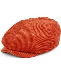 Brixton Brood Newsboy Cord Snap Hat - Red