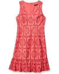 Trina Turk Trina Ruffle Hem Lace Dress - Red