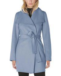T Tahari Classic Double Face Wool Blend Wrap Coat - Blue