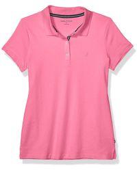 Nautica 3-Button Short Sleeve Breathable 100% Cotton Polo Shirt - Rose