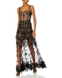 Dress the Population Annabel 3d Floral Illusion Long Gown - Black