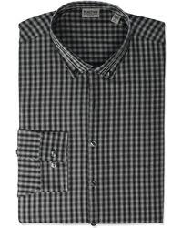 Kenneth Cole Reaction Dress Shirt Slim Fit All-day Flex Technicole Stretch Check - Black
