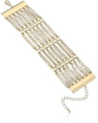 Steve Madden Layered Rhinestone Curb Chain Yellow Gold-tone Bracelet - Metallic
