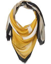 Calvin Klein Abstract CK Logo Colorblock Yellow and Grey 100% Rayon Scarf Pashminaschal - Mehrfarbig