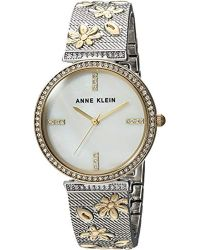 Anne Klein - Ak/3147mptt Swarovski Crystal Accented Two-tone Textured Bangle Watch - Lyst