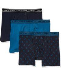 Kenneth Cole Reaction Cotton Stretch Boxer Brief Underwear - Blue
