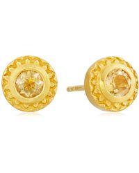 Satya Jewelry Citrine Gold Stud Earrings - Yellow