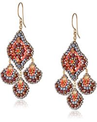 Miguel Ases Soft Pink Pyrite And Swarovski Chandelier Drop Earrings - Multicolor