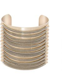Steve Madden Multistrand Stacked Chain Open Cuff Yellow Gold-Tone Bracelet - Giallo