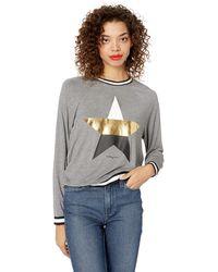 Betsey Johnson Metallic Star Stripe Rib Pullover - Gray