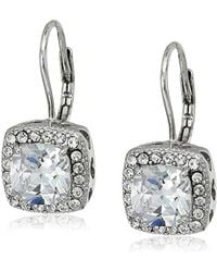 "Betsey Johnson - ""betsey Blue"" Cubic Zirconia Stone Silver Square Drop Earrings - Lyst"