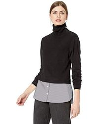 Nicole Miller High Neck Combo Pullover Sweater - Black