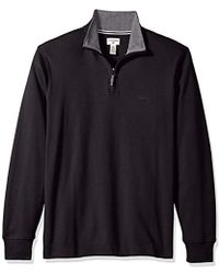 Dockers Interlock Quarter Zip Long Sleeve Sweater - Black