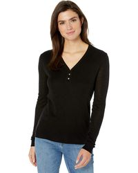 Splendid Long Sleeve Henley Shirt - Black