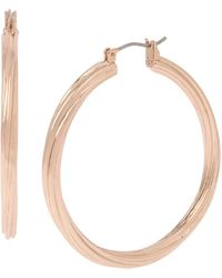 Kenneth Cole Rose Gold Twist Medium Hoop Earrings - Metallic