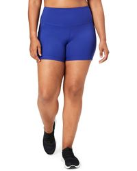 Core 10 Plus Size Race Day High Waist Run Compression Short With Pockets - Blue