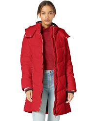 Tommy Hilfiger Midlength Chevron Quilted Hooded Puffer Jacket - Red