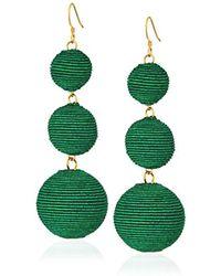 Kenneth Jay Lane - Green Thread Ball Drop Earrings - Lyst