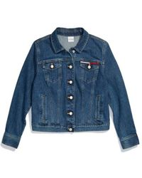 Tommy Hilfiger Adaptive Cropped Denim Jacket With Magnetic Buttons - Blue
