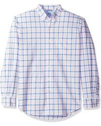 Izod Newport Long Sleeve Button Down Tattersal Oxford Shirt - Blue