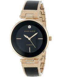 Anne Klein Ak/1414bkgb Diamond-accented Bangle Watch - Metallic