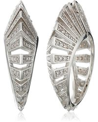Noir Jewelry - Rhodium And Clear Modernist Earrings - Lyst